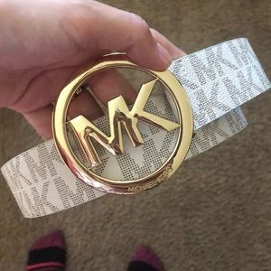 White and gold Michael kors woman's belt
